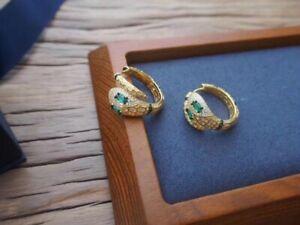 Apm Monaco EGYPTIAN TRIBUTE Serpent Hoop Earrings With Green Stones