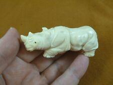 (rhino-10) white Rhinoceros Rhino of shed Antler figurine Bali detailed carving