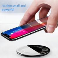 Baseus 7.5W/10W Carga Rapido Qi Cargador Transparente Vidrio Para  iPhone XS