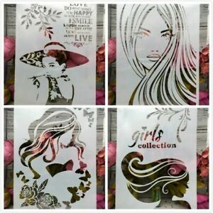 4Pcs/Lot A4 Scrapbook Sexy Lady Girl Long Hair DIY Layering Stencils Painting