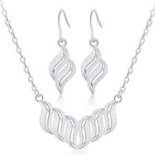 nice Silver Fashion wedding Women charms earring necklace set jewelry hot