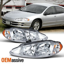 Fit 98-04 Dodge Intrepid Replacement Clear Headlights L + R Chrome Headlamps