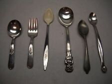 VINTAGE Childrens SILVERWARE 5 Spoons 1 Fork CAMPBELLS Evenflo TIPPY TASTER