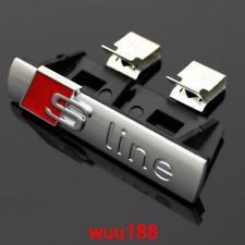 Fits Audi Sline Front Grille Badge Blac Car External Accessory Emblem Chrome