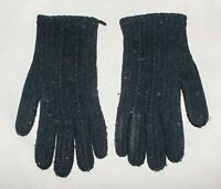 Vintage Ladies/Youth Winter Gloves Black Stretch Knit Back Pattern