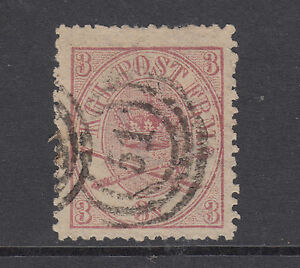 Denmark Sc 12 used 1865 3s Royal Emblems, 51 in target cancel, almost VF