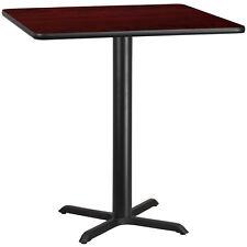 42'' SQUARE MAHOGANY LAMINATE TABLE TOP WITH 33'' X 33'' BAR HEIGHT BASE