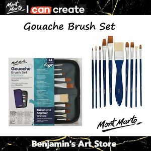 Mont Marte Gouache Paint Brush Set Art Painting Drawing in Wallet Art Supply