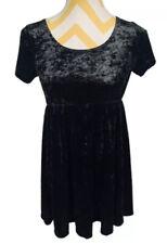 American Apparel Stretch Black Crushed Velvet Babydoll Dress Size S NWT
