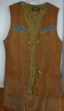 Joo Kay Vintage Beaded Fringe Sleeveless Western Suede Leather Vest Jacket