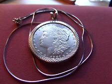 """1921 S Morgan Silver Dollar .925 Pendant on a 20"""" 925 Italy Silver Round Chain"""