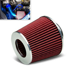 Car SUV 3'' Inlet High Flow Short RAM/COLD Intake Round Cone Mesh Air Filter Red
