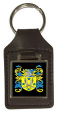 Young Family Crest Surname Coat Of Arms Brown Leather Keyring Engraved
