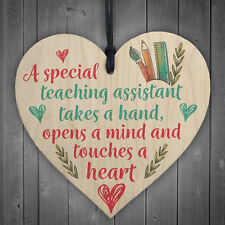 Special Teacher Leaving Gift Wood Heart Plaque Teaching Assistant Thank You Gift