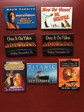 SET OF 7 VIDEO RELEASE PROMO PINS DISNEY LION KING, LADY AND THE TRAMP, WATERBOY