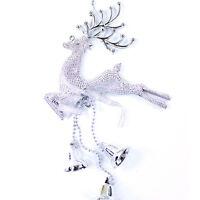 Christmas Tree Ornament Reindeer Deer Jingle Bell Hanging Xmas Baubles Dec CRIT