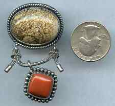 Vintage Pin Brooch Agate Coral Stone Indonesia Dangle Pendant Sterling Silver