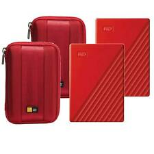 2 WD 4TB My Passport Portable External Hard Drive, Red + 2 Cases, Red