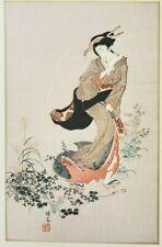 Hokuba Teisai A Beauty in Autumn Suburbs Japanese Woodblock Print1928