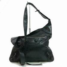 Balenciaga Black Leather Arena Messenger Hobo 870690