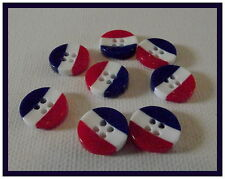 LOT 8 BOUTONS  bleu blanc rouge * 12 mm 4 trous * mercerie button 1,2 cm drapeau