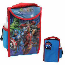 Official Marvel Avengers Kids 2 Piece Thermal Lunch Bag Bottle School Set