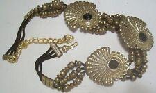 Womens Fashion Hip Belt Gemstone Gold Metal Chain Plate Belly Dance New Vintage