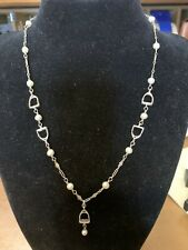 New listing Lovely Sterling Silver and Pearl Necklace Equestrian Motif