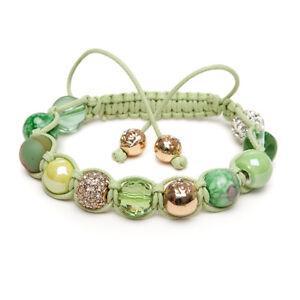 Shamballa Gemstone Bracelet Malachite Gold Pave Crystal Pastel Green UK made