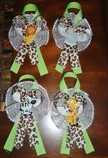 6 JUNGLE SAFARI ZOO CORSAGES BABY SHOWER or BIRTHDAY PARTY, MOTHER TO BE GIFT