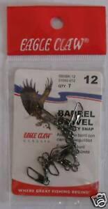 EAGLE CLAW Black Barrel Swivels Size 12 Qty (7)1042-012