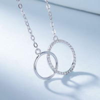 925 Sterling Silver Double Circle Pendant Necklace Chain SOLID SILVER Jewelry