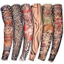 US 6pcs Nylon Fake Temporary Tattoo Sleeve Arm Stockings Tatoo for Men Women NEW