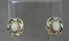 White Gilson Opal Gold Vermeil Accents Sterling Silver 925 Pierced Earrings