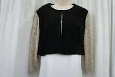 MSK Bolero Sz L Black Multi Studded Sheer 3/4 Sleeve Evening Cocktail Bolero