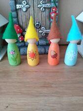 Set of 4 seasons Waldorf style peg doll gnomes Decoration.