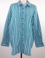 Roaman's Mens Top Size Large L Blue Striped Button Down Long Sleeve Shirt Blouse