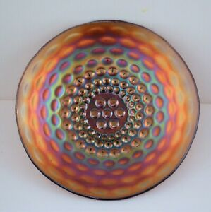 WESTMORELAND AMETHYST CARNIVAL GLASS PLATE PEARLY DOTS