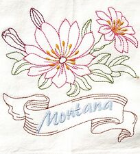 STATE FLOWER-MONTANA-BITTEROOT EMBROIDERED FLOUR SACK DISH TOWEL