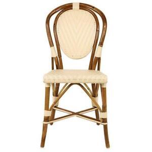 Woven French Mediterranean Bistro Chairs / Cream / Soft Yellow / Maison Midi