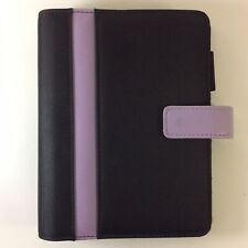 Franklin Covey 365 Compact Black Purple Planner 6 Ring Snap Binder Extras Size 4