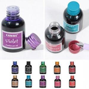 10 Rich Bright Colours Fountain Pen Ink 30ml In Bottle HOT.