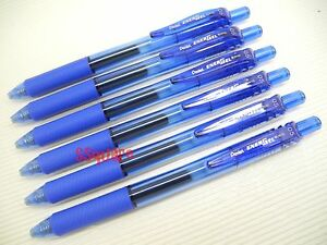 6 x Pentel EnerGel Ener Gel 0.5mm Needle Tip Rollerball Gel ink Pen, Blue