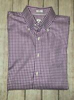 Peter Millar Nanoluxe Button Down Gingham Check Purple White Long Sleeve Shirt L