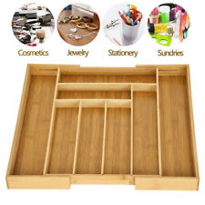Expandable Cutlery Flatware Drawer Utensil Kitchen Organizer Storage Bamboo Hot