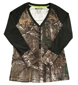 Under Armour Heat Gear Fitted Womens Camo Scent Control Realtree Shirt Large