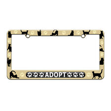 Adopt - Pet Cat Dog License Plate Tag Frame Cat Silhouettes Design