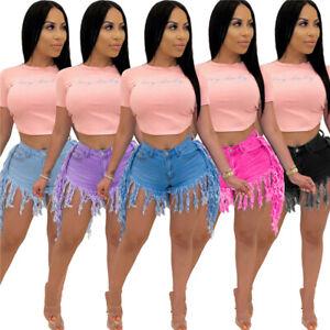 new personality high waist worn old fringed retro tassel denim shorts women