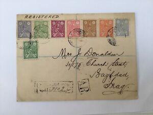 PERSIA RACCOMANDATA AFFRANCATA CON 8 VALORI PER BAGHDAD 1927