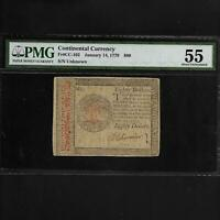 CC-102 1779 $80 **LAST CONTINENTAL CURRENCY**  PMG 55 AU JAN 14, 1779 SHIPS FREE